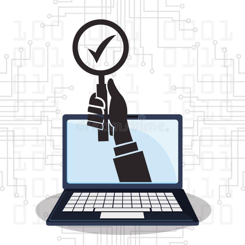 Protección de control cibernética de la tecnología de seguridad ilustración del vector