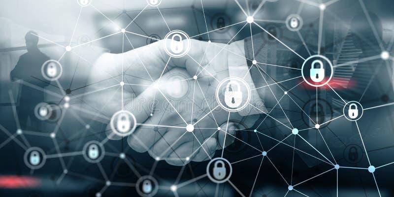 Protección de datos corporativa Concepto cibernético de la tecnología de Internet del negocio de la aislamiento de la seguridad stock de ilustración