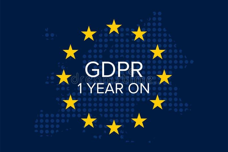 Protección de datos general GDPR de regla 1 año encendido libre illustration