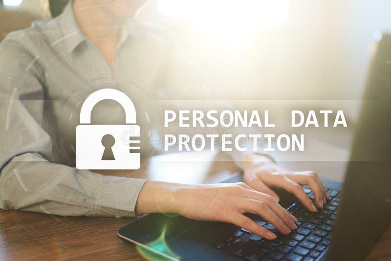 Protección de datos personal, seguridad cibernética y aislamiento de la información GDPR foto de archivo libre de regalías