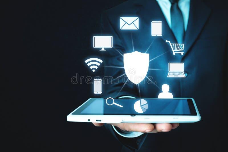 Protección de datos y concepto cibernético de la seguridad Seguridad de la información foto de archivo libre de regalías