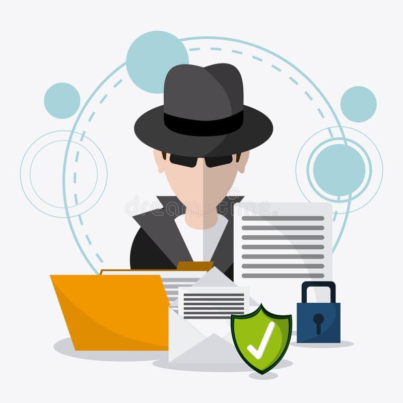 Protección de datos y sistema de seguridad cibernético stock de ilustración