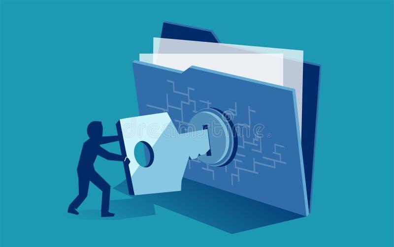 Protección de fichero digital de la seguridad cibernética Vector del hombre usando la llave de la seguridad para tener acceso al  ilustración del vector
