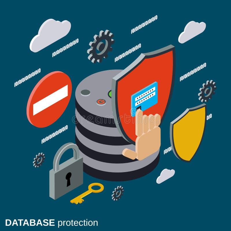 Protección de la base de datos, concepto del vector de la seguridad informática ilustración del vector