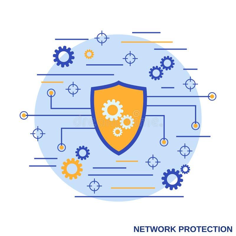 Protección de la red, concepto del vector de la seguridad informática libre illustration