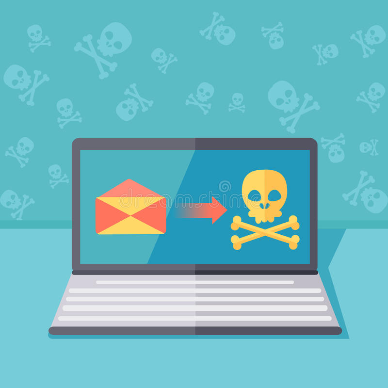 Protección de Ransomware o illust del concepto del vector de la seguridad del phishing stock de ilustración