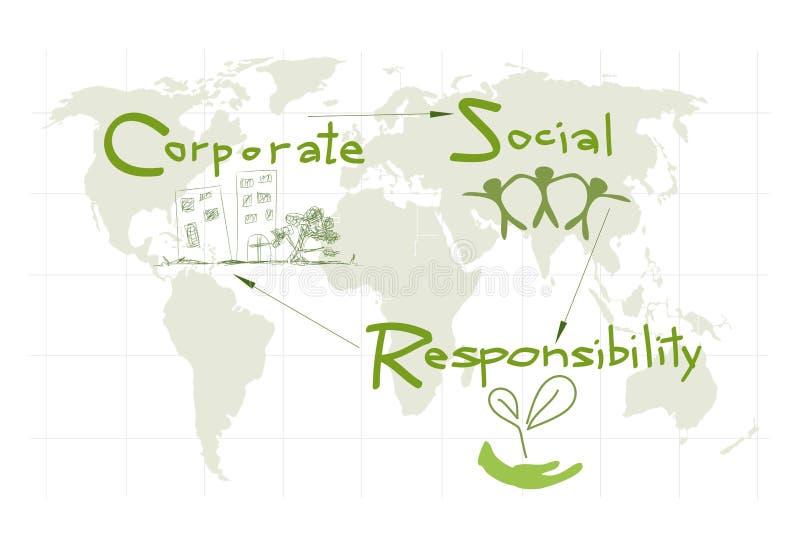 Protección del ambiente con conceptos de la responsabilidad social corporativa stock de ilustración
