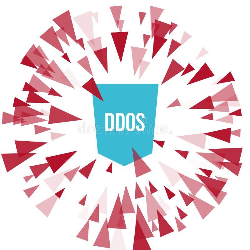 Protección del ataque del pirata informático DDoS ilustración del vector