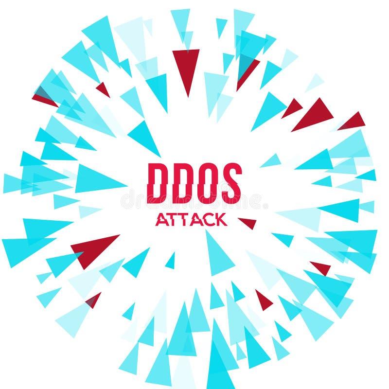 Protección del ataque del pirata informático DDoS stock de ilustración