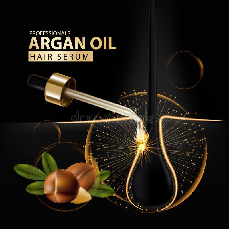 Protección del cuidado del cabello del aceite del Argan contenida en botella stock de ilustración