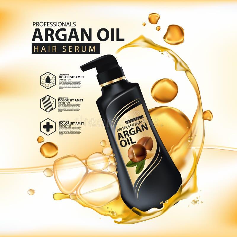 Protección del cuidado del cabello del aceite del Argan contenida en botella ilustración del vector