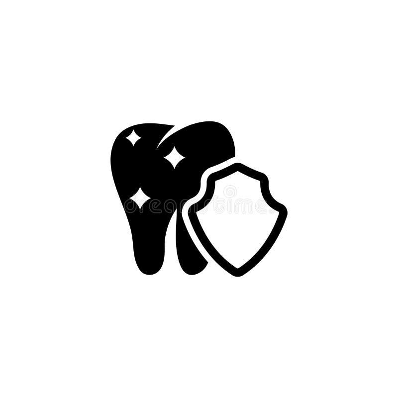 Protección del diente, icono plano del vector del escudo del cuidado dental ilustración del vector