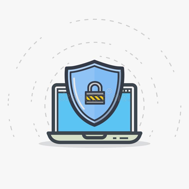 Protección del escudo del ordenador portátil ilustración del vector