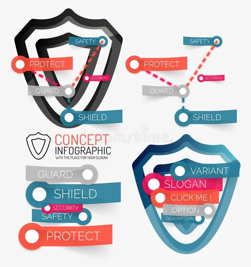 Protección del escudo del vector infographic stock de ilustración