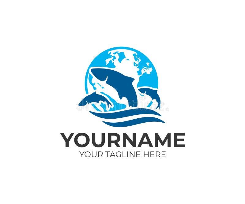 Protección del medio ambiente, criando pescados, la tierra del planeta y pescados en el agua, diseño del logotipo Animales, vid libre illustration