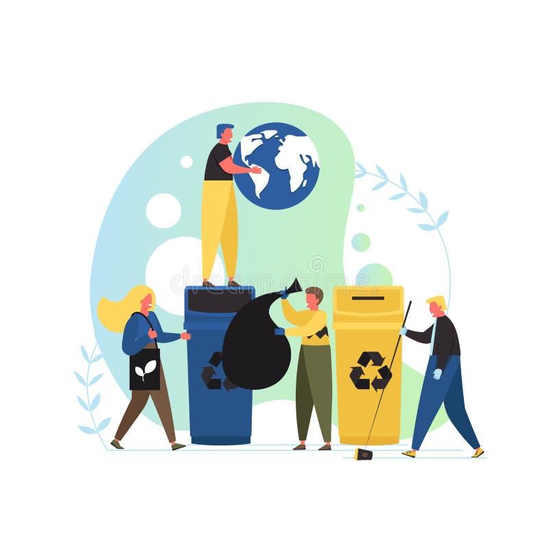 Protección del medio ambiente, ejemplo plano del diseño del estilo del vector stock de ilustración