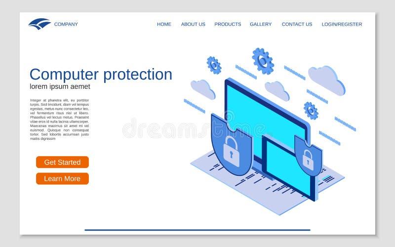 Protección del ordenador, concepto isométrico plano del vector 3d de la seguridad de información ilustración del vector