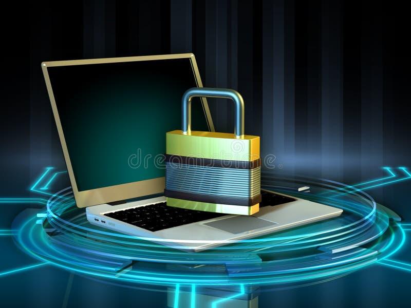 Protección del ordenador portátil ilustración del vector