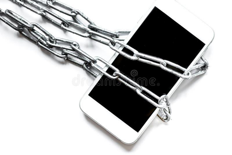 Protección del smartphone del concepto en el fondo blanco foto de archivo libre de regalías