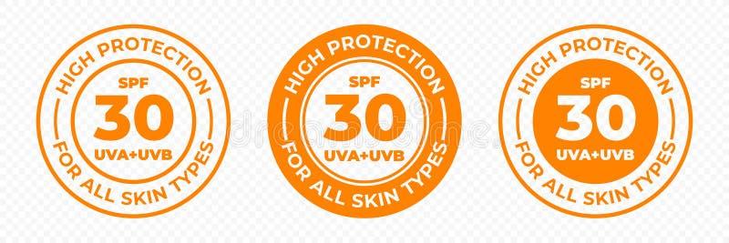 Protección del sol del SPF 30, iconos del vector de UVA y de UVB Altas loción de la piel de la protección del SPF 30 y etiqueta U stock de ilustración