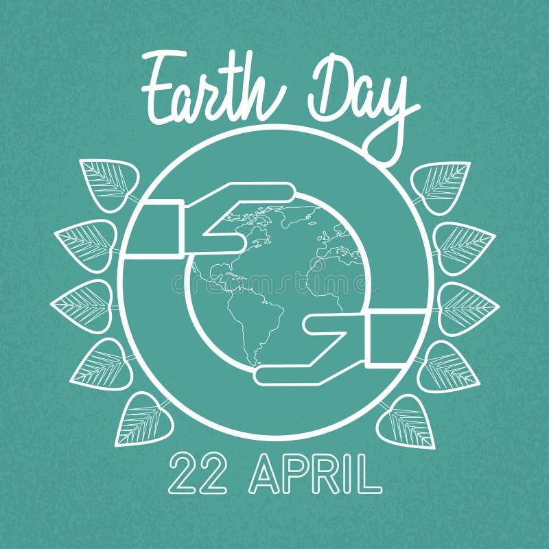 Protección ecológica del globo del control de la mano del mundo del Día de la Tierra ilustración del vector