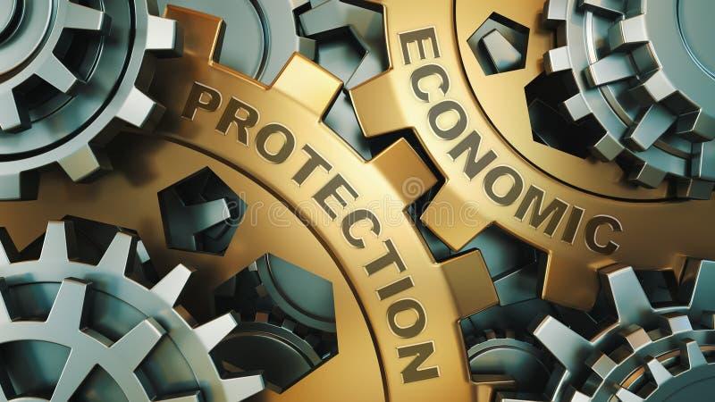 Protección económica en los engranajes del metal - concepto del mensaje del negocio Entrenamiento y desarrollo en el mecanismo de fotos de archivo libres de regalías