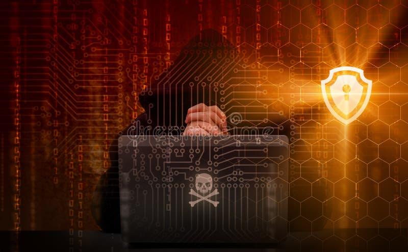 Protección exhibida contra piratas informáticos ilustración del vector