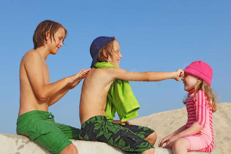 Protección o crema de Sun foto de archivo