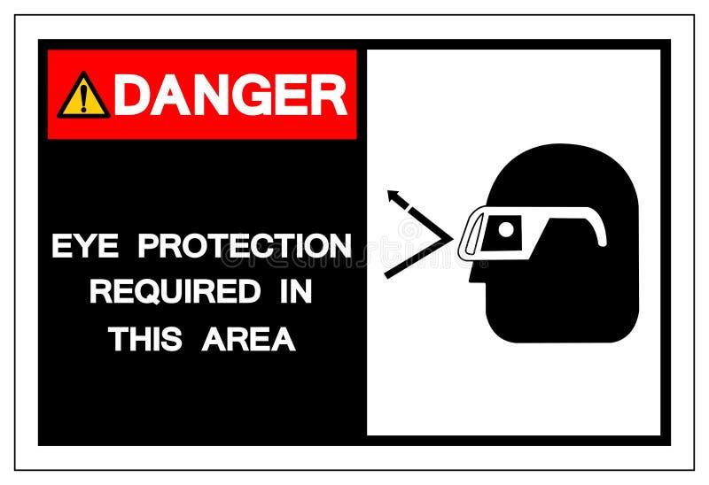 Protección ocular requerida en esta muestra del símbolo del área, ejemplo del peligro del vector, aislado en la etiqueta blanca d libre illustration