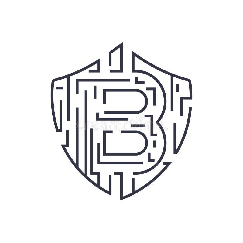 Protecci?n abstracta del concepto de la tecnolog?a del bitcoin La moneda crypto virtual mantiene premio Uso para los logotipos, i libre illustration