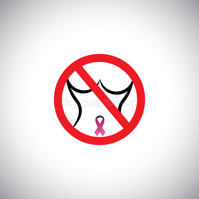 Protect from breast cancer sign - abstract concept royalty free illustration