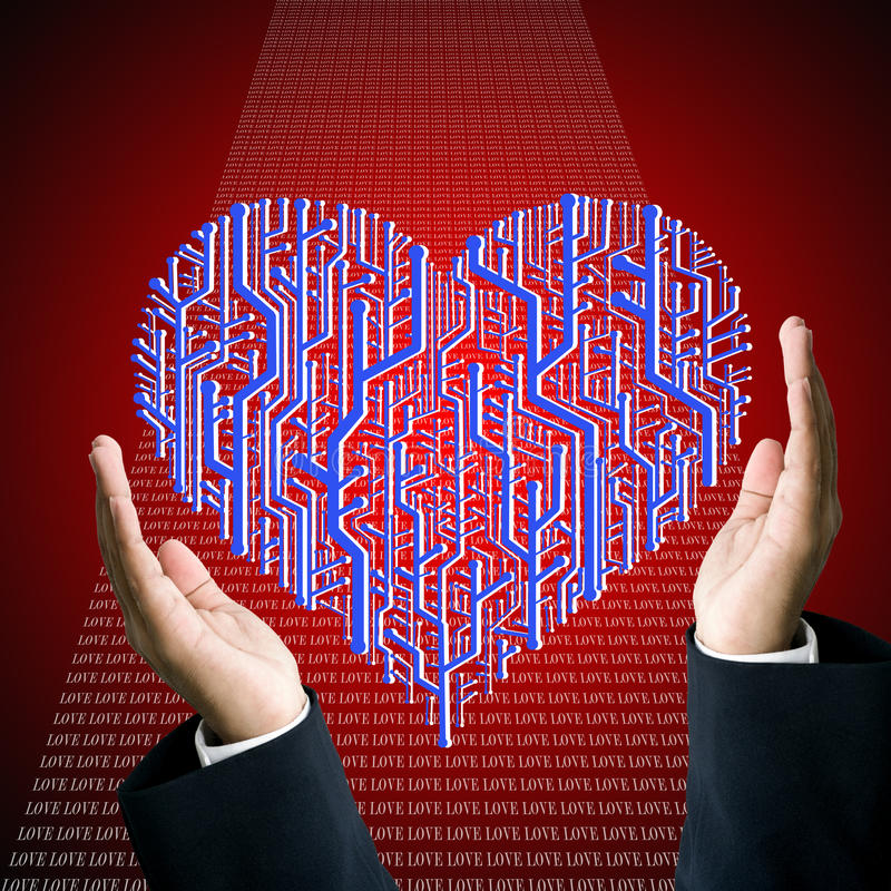 Download Protect The Circuit Board In Heart Shape Stock Illustration - Illustration of carry, creative: 22578845