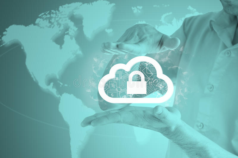 Protect cloud information data concept. Security and safety of cloud computing. royalty free stock photos