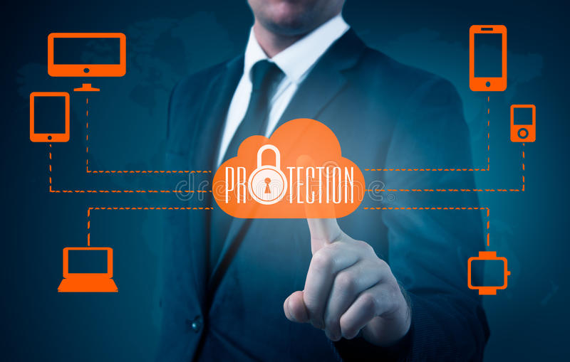 Protect cloud information data concept. Security and safety of cloud data stock images