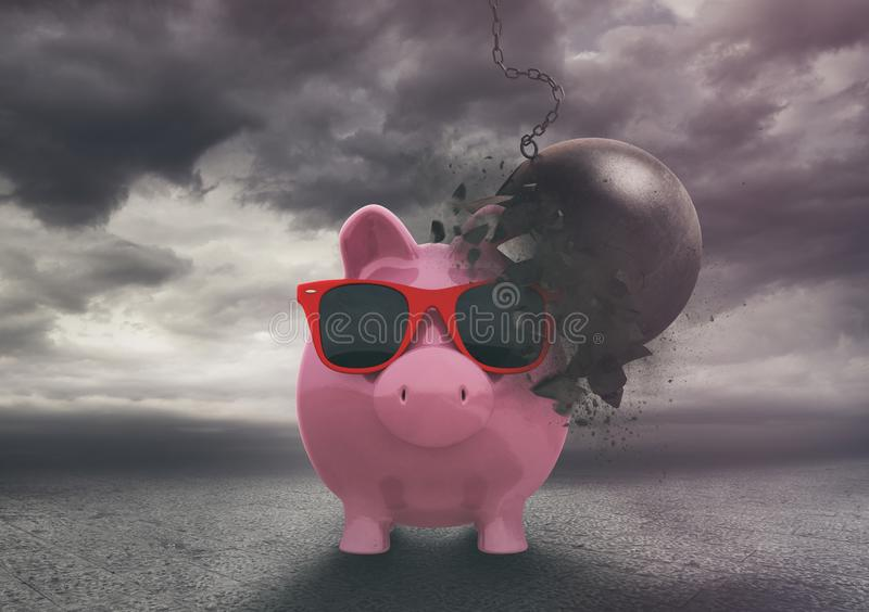 Piggy bank resists a demolition ball during a storm . Reliable and secure financial product. Protect customers savings from dangers and maintain capital stock illustration