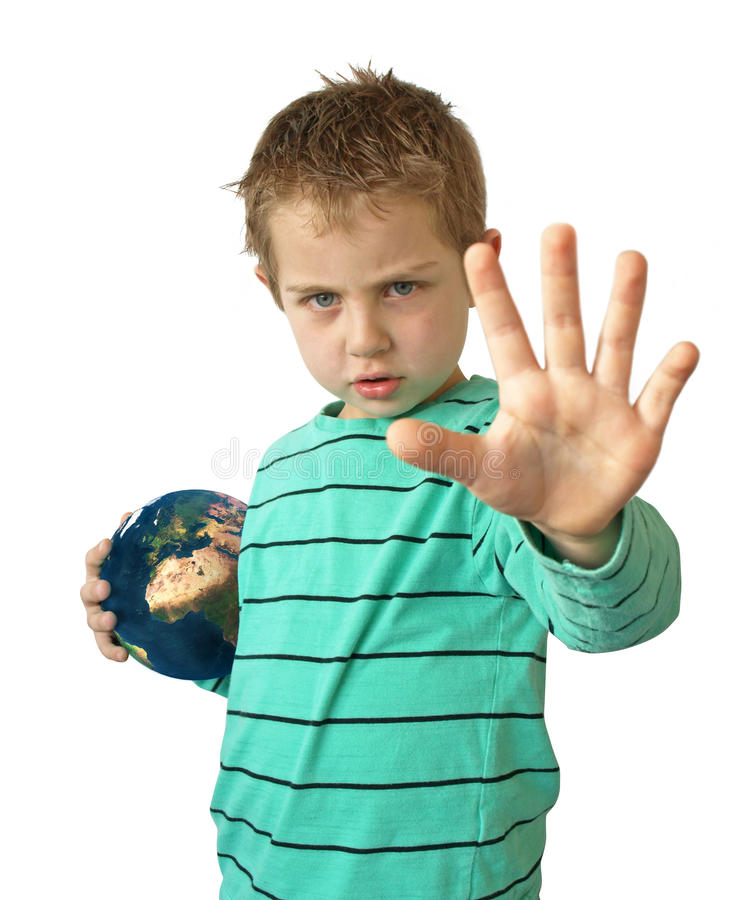 Protect earth. A young child protecting earth for the future generation saying no more stock photography