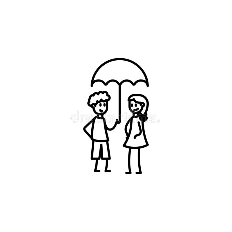 Protect girlfriend icon. Element of friendship icon for mobile concept and web apps. Thin line protect girlfriend icon can be used. For web and mobile on white stock illustration