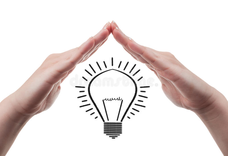 Protect great ideas concept on white background. Female hands protecting a light bulb symbolizing great ideas. Protection of great idea concept, isolated on stock photo