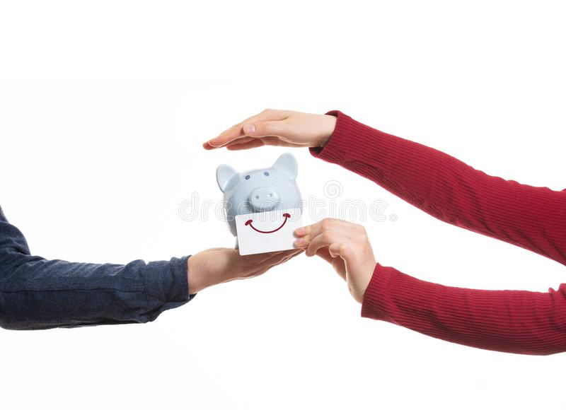Protect hte piggy bank royalty free stock images