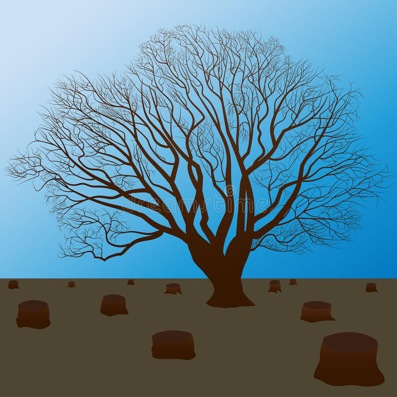 protect the nature, cut trees silhouette stock illustration