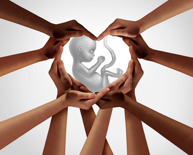 Protect New Life. As a group of people holding a newborn child 3D illustration style royalty free stock photos