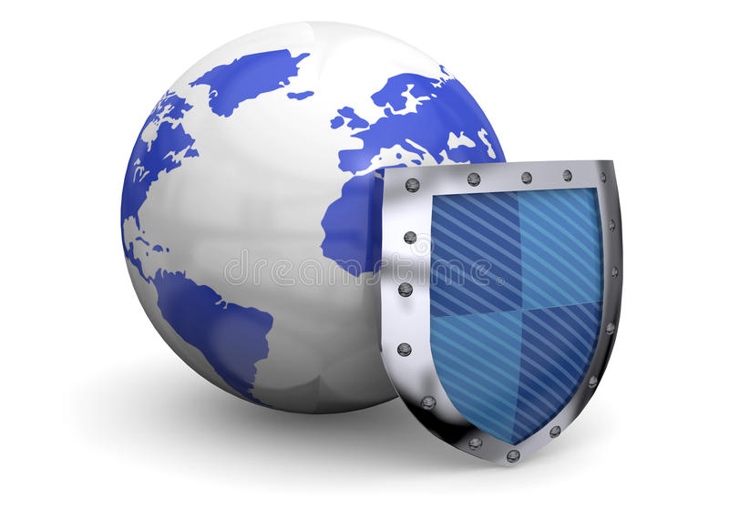 Protect the World - 3d. One Shield defends the world vector illustration
