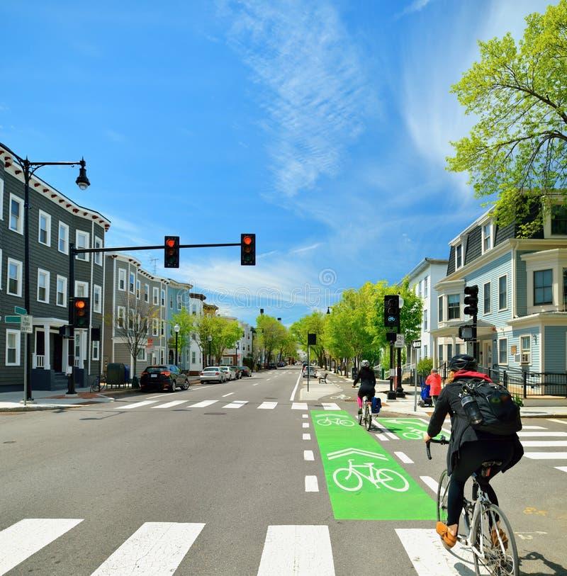 Free Protected Bike Lane In City Street Stock Photo - 92410490