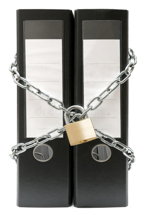 Protected File Folders. Two black file folders protected by a chain and a padlock. Isolated on a white background royalty free stock photography