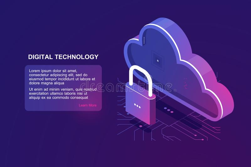Protected file on remote cloud storage, isometric cloud icon, saved internet provider, reliability document storage. Backup download upload ultraviolet vector royalty free illustration