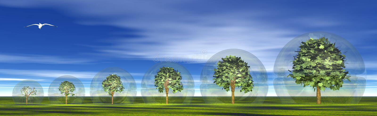 Protected growing trees stock illustration