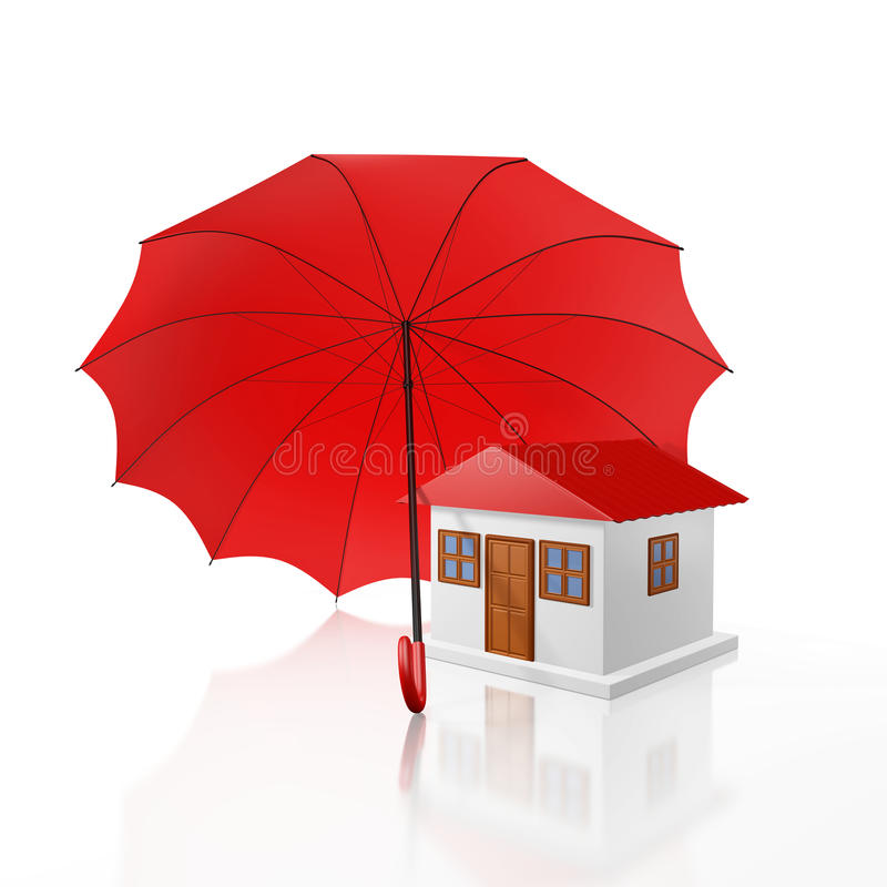 Download Protected Home Under A Red Umbrella Stock Photo - Image of defend, investment: 61008466
