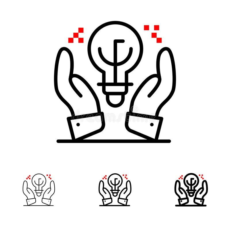 Protected Ideas, Business, Idea, Hand Bold and thin black line icon set vector illustration