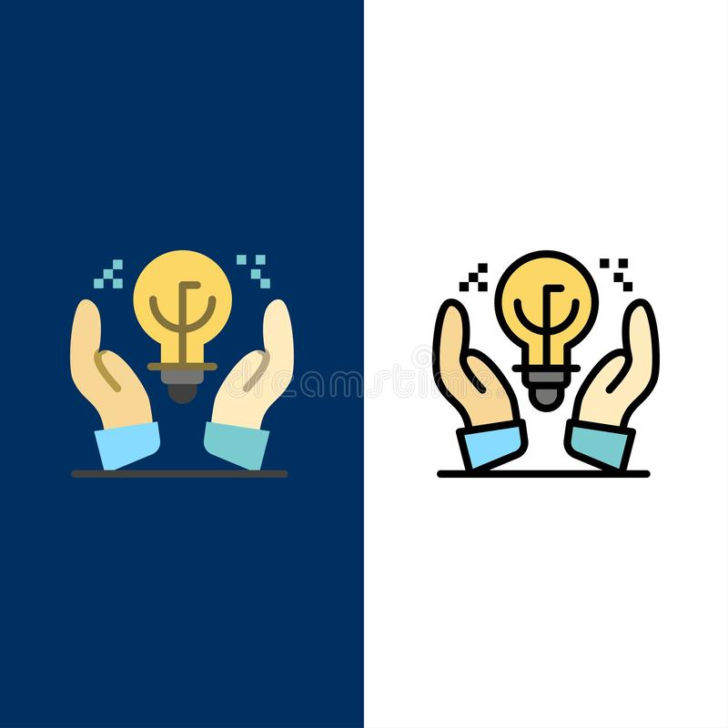 Protected Ideas, Business, Idea, Hand  Icons. Flat and Line Filled Icon Set Vector Blue Background stock illustration