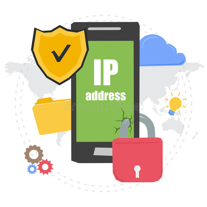 PROTECTED IP ADDRESS on phone monitor royalty free illustration